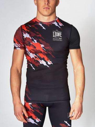 T-shirt Leone Neo Camo a compressione ABX15 rosso - visione frontale