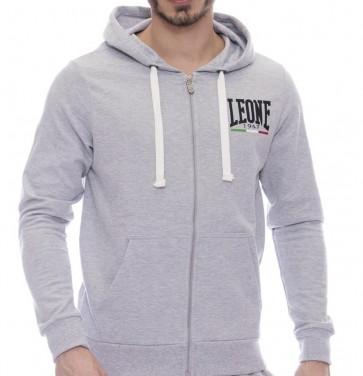 Felpa Leone con zip e cappuccio LSM1845 grigio