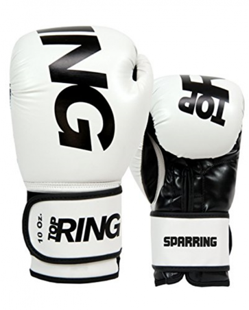 Guantoni 10 Oz Top Ring Sparring in nappa  Art. 312 BIANCO 10 Oz
