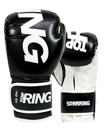 Guantoni 10 Oz Top Ring Sparring in nappa  Art. 312 NERO 10 Oz