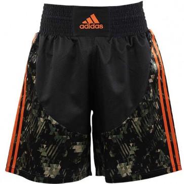 Pantaloncini da Boxe Adidas Camo Nero - Arancio Fluo