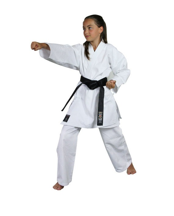 kimono karate calzoni neri giacca bianca