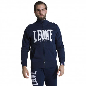 Felpa Leone Basic con collo e zip - Nero