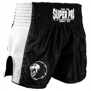 Pantaloncini kick-thai Super Pro Brave Nero-bianco