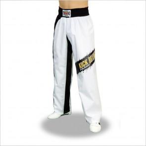 Pantalone scritta Kickboxing a macchia sul ginocchio - TOP RING - Art. 265 nero