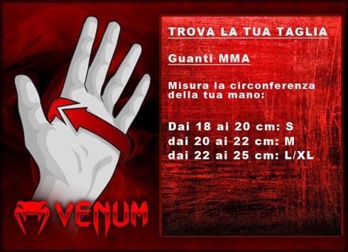 Guanti da mma Venum: Guida alle taglie